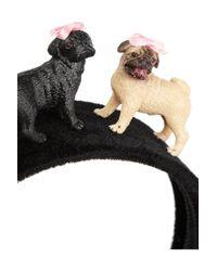 Piers Atkinson - Black Lizzie 'N' Mekka Pug-Embellished Velvet Headband - Lyst