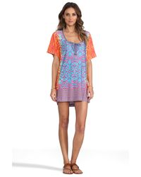 Nanette Lepore | Multicolor Short Sleeve Jersey Tunic in Blue | Lyst