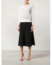 Oscar de la Renta | White Floral Lace-Panel Cotton Sweater | Lyst