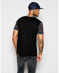 ASOS - Black T-shirt With Aztec Print Yoke And Pocket for Men - Lyst