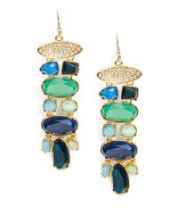 Lauren by Ralph Lauren | Green Swarovski Crystal Chandelier Cluster Earrings | Lyst