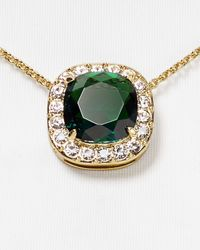 "kate spade new york - Green Basket Pave Pendant Necklace, 16"" - Lyst"