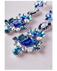 Missguided - Statement Crystal Drop Earrings Blue - Lyst