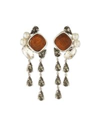 Lela Rose - Metallic Cluster Crystal Clip-on Earrings - Lyst