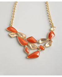 Kenneth Jay Lane - Orange Coral And Crystal Bib Necklace - Lyst