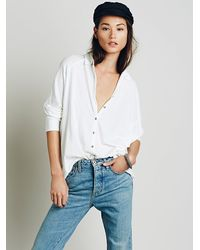 Free People | White We The Free Womens Big Easy Buttondown | Lyst