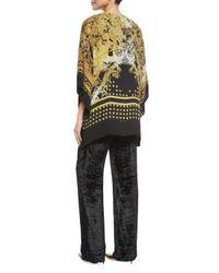 Etro - Metallic Printed Silk Jacket With Fringe - Lyst