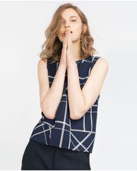 Zara | Blue Top With Neckline Detail | Lyst