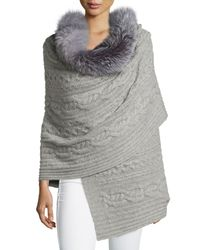Sofia Cashmere - Gray Fur-trim Cashmere Scarf - Lyst