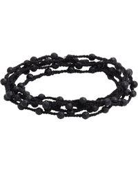 Feathered Soul - Black Agate Bead & Braided Silk Wrap Bracelet for Men - Lyst