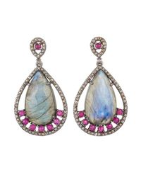 Bavna | Blue Sterling Silver Earrings With Pear Drop Labradorite,pink Tourmaline & Champagne Rose Cut Diamonds | Lyst