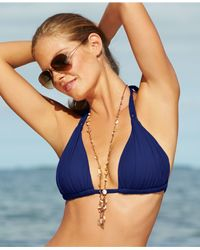 La Blanca | Blue Ruched Halter Bikini Top | Lyst