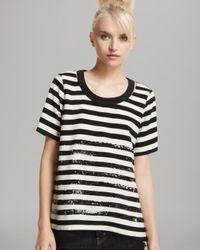 Tibi | Black Top Distressed Stripe | Lyst