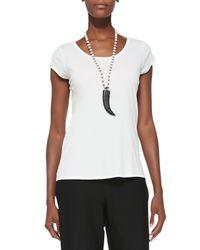 Eileen Fisher - White Silk-jersey Cap-sleeve Tee - Lyst