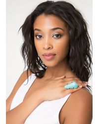 Bebe - Blue Turquoise Cocktail Ring - Lyst