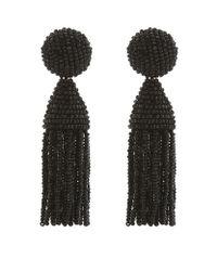 Oscar de la Renta | Black Short Tassel Earrings | Lyst