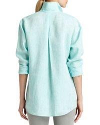 Lafayette 148 New York - Blue Sabira Linen Long-Sleeve Blouse - Lyst