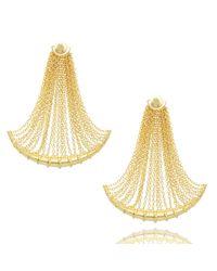 Arme De L'Amour | Metallic Drop Chain Bamboo Earrings | Lyst