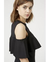 TOPSHOP - Black Frill Cold Shoulder Dress - Lyst