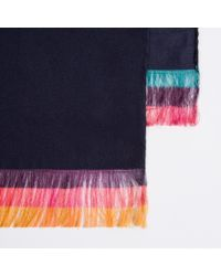 Paul Smith | Blue Men's Navy Silk Multi-stripe End Scarf for Men | Lyst