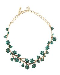 Oscar de la Renta - Green Embellished Necklace - Lyst