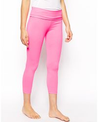 ASOS - Pink Fold Over Cropped Leggings - Lyst