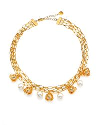 Tory Burch | White Golden Cara Short Flower Necklace | Lyst