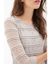Forever 21 - Gray Contemporary Ruffled Lace Sheath Dress You've Been Added To The Waitlist - Lyst