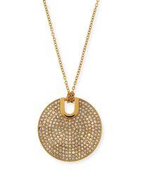 Michael Kors | Metallic Pave City Disc Pendant Necklace | Lyst