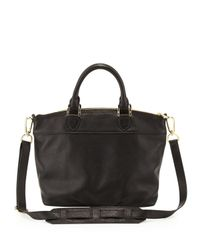 Tory Burch - Small Stackedt Leather Satchel Bag Black - Lyst