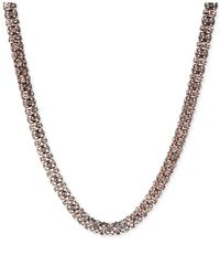 Anne Klein | Pink Rose Gold-tone Pavé Tubular Collar Necklace | Lyst