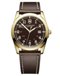 Victorinox | Brown 'infantry' Leather Strap Watch | Lyst