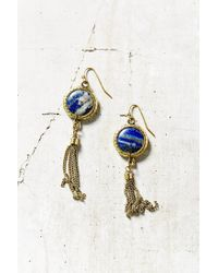 Urban Outfitters | Blue Sand Stone Fringe Drop Earrings | Lyst