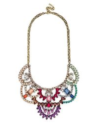 BaubleBar | Multicolor 'dalloway' Crystal Bib Necklace - Rainbow/ Antique Gold | Lyst