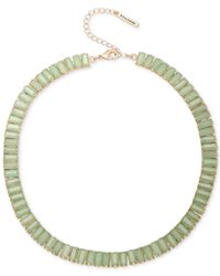 T Tahari | Gold-tone Green Rectangle Stone Collar Necklace | Lyst