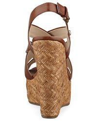 G by Guess - Brown Havana Platform Wedge Sandals - Lyst