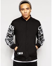Crooks and Castles | Black Baseball Jacket With Chenille Logo for Men | Lyst