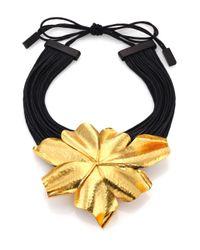 Josie Natori - Metallic Golden-Flower Necklace - Lyst