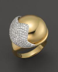 Kara Ross - Metallic 18K Yellow Gold Smooth Hydra Ring With Pavé Diamonds - Lyst