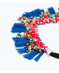Zara | Blue Fringed Necklace With Bow Fastening | Lyst