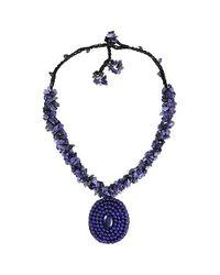 Aeravida - Blue Purple Round Amethyst Mosaic Pendant Cluster Necklace - Lyst