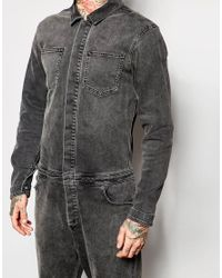 ASOS | Gray Boiler Suit In Denim Washed Black for Men | Lyst