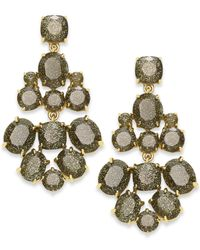kate spade new york | Green Gold-tone Glitter Stone Chandelier Earrings | Lyst