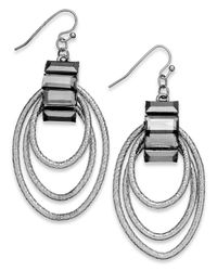 INC International Concepts | Metallic Inc International Concept Rhodium-tone Orbital Drop Earrings | Lyst