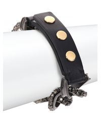 Lanvin | Black Crystal, Chain & Leather Wrap Bracelet | Lyst