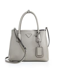 Prada - Gray Daino Small Double Bag - Lyst