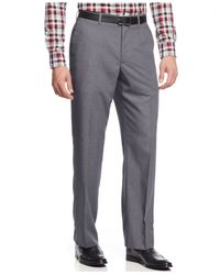 Perry Ellis | Gray Portfolio Classic-fit Solid Dress Pants for Men | Lyst