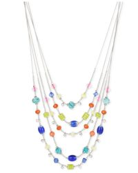 INC International Concepts | Metallic M. Haskell For Inc Silver-tone Crystal And Beaded Illusion Necklace | Lyst