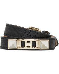 Proenza Schouler | Metallic Black Leather Double Wrap Ps11 Bracelet for Men | Lyst