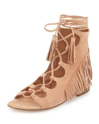 Sigerson Morrison - Natural Ghillie-Tie Suede Flats  - Lyst